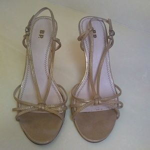 BP gold strappy heels, size 8
